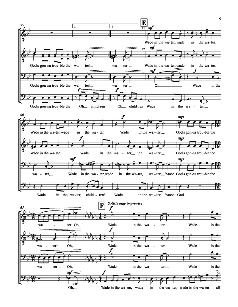 """Wade in the Water"" for SATB, TTBB or SSAA choir – by"